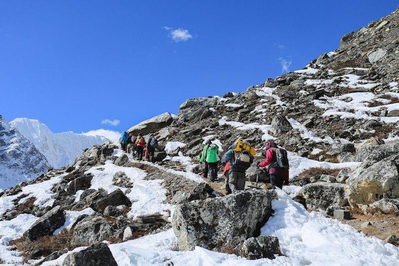 base para caminhadas campo Everest